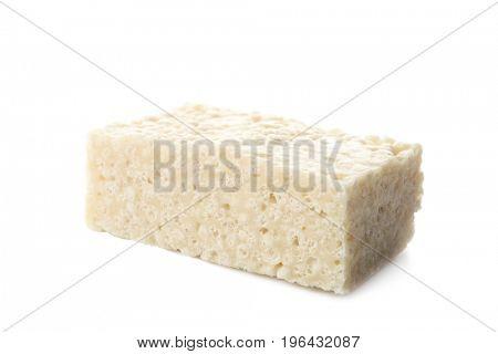 Rice crispy treat on white background