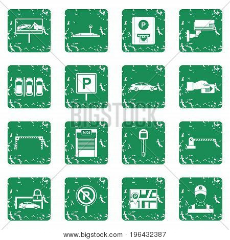 Car parking icons set in grunge style green isolated vector illustration