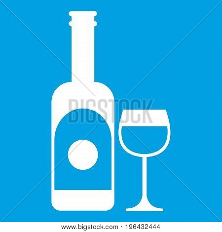 Wine and glass icon white isolated on blue background vector illustration