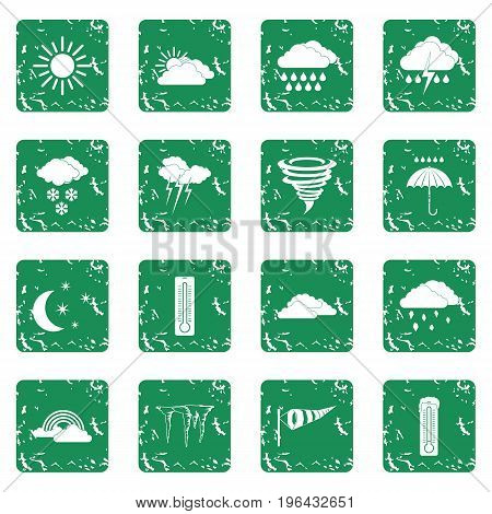 Weather set in grunge style green isolated vector illustration
