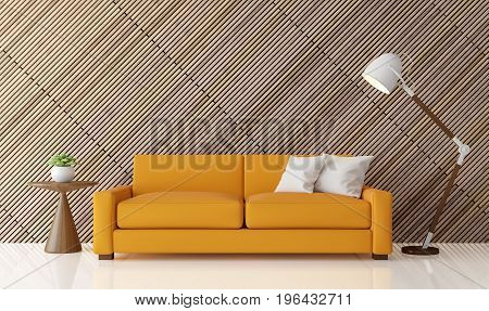 Modern contemporary living room interior 3d rendering image.There are white floor decorate wall with wooden lattice.furnished with yellow fabric sofa.