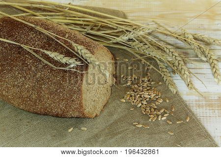 rye bread with ears and grains on a table