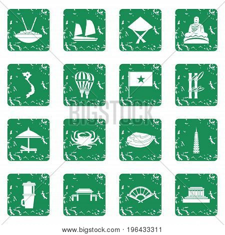 Vietnam travel icons set in grunge style green isolated vector illustration