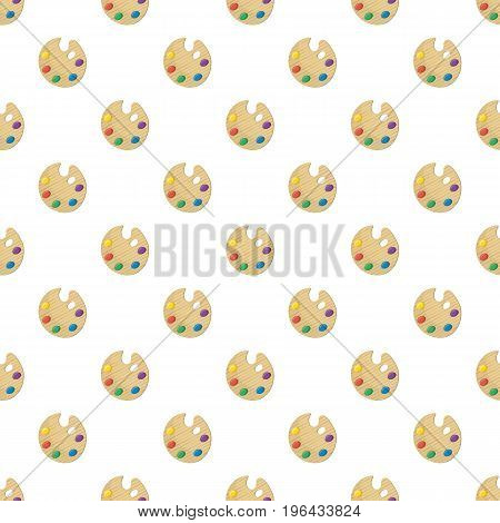 Wooden art palette with paints pattern seamless repeat in cartoon style vector illustration
