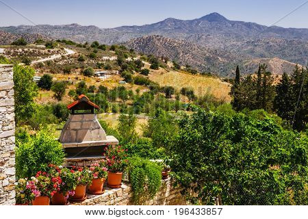 Panoramic View On Kato Lefkara - Is The Most Famous Village In The Troodos Mountains. Limassol Distr