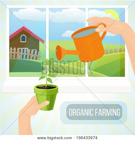 Organic farming concept. Agrotourism. Agribusiness. Rural landscape. Farming fields and mansion. Eco products. Care of plants careful attitude to nature. Vector illustration isolated.