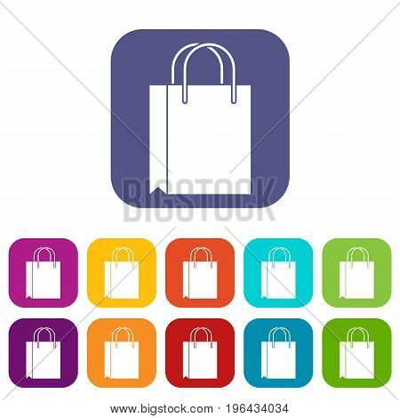 Shopping bag icons set vector illustration in flat style in colors red, blue, green, and other