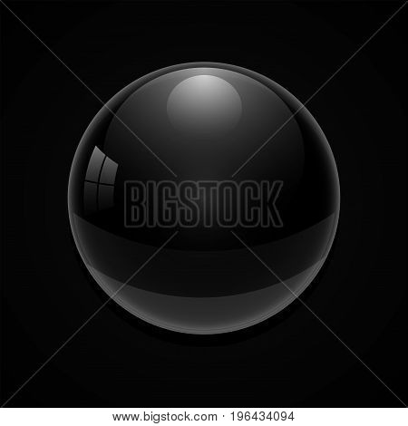 Black glass ball on a black background. 3D vector illustration.