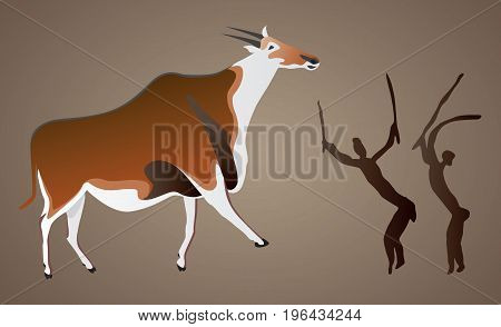 Vector representation of cave rock paintings from Drakensberg South Africa of two San Bushmen hunting an eland