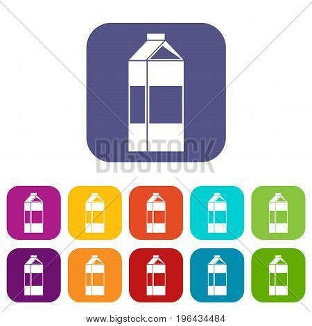 Milk icons set vector illustration in flat style in colors red, blue, green, and other