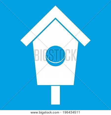 Birdhouse icon white isolated on blue background vector illustration