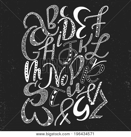 Unique Hand Drawn Latin Alphabet With Doodle Ornament. Cute Comic Font In Boho Style. Abc Letters Sq