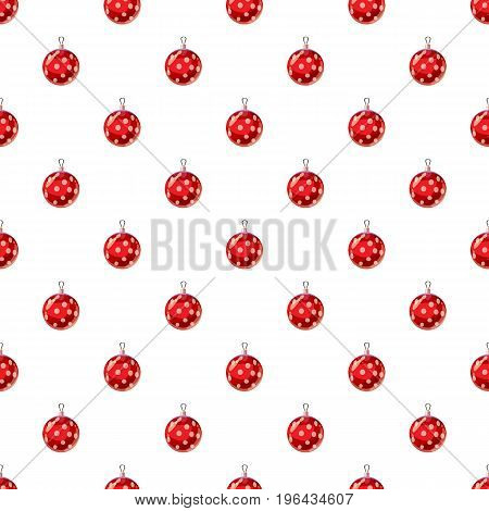 Christmas red ball pattern seamless repeat in cartoon style vector illustration