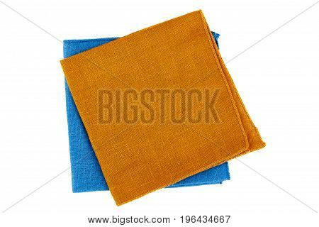 Green and blue textile napkins isolated on white background