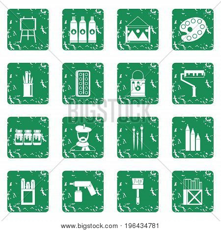Painting icons set in grunge style green isolated vector illustration