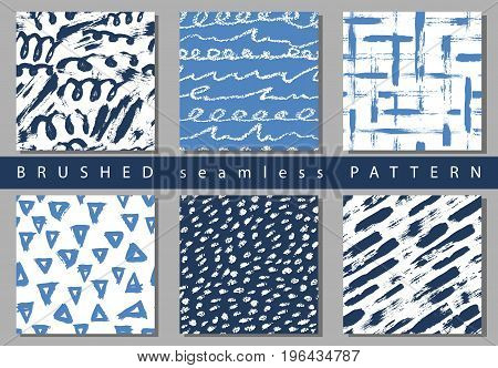 Set of Vector colorful seamless pattern with brush strokes and dots. Blue color on white background. Hand painted grange texture. Ink geometric elements. Fashion modern Unusual kid school collage