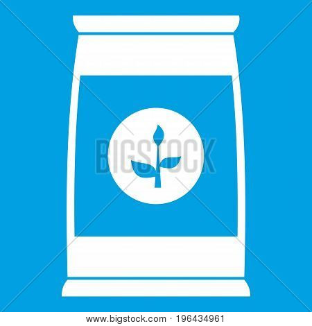 Flower seeds in package icon white isolated on blue background vector illustration