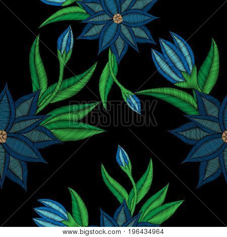 Embroidery stitches imitation seamless pattern with folk flower with green leaf. Fashion embroidery flower on black background. Embroidery flower vector.
