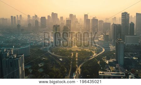 JAKARTA Indonesia. May 12 2017: Aerial view under overpass in the city. Shot at sunset time