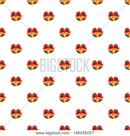 Golden Christmas bells with red bow pattern seamless repeat in cartoon style vector illustration
