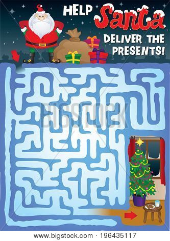 Help Santa find his way through the snowy maze to deliver the presents under the Christmas tree!