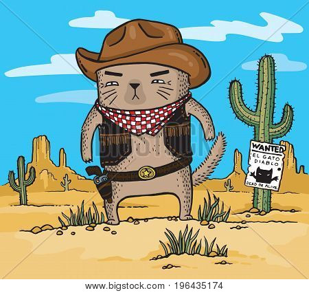 Cartoon drawing of a cowboy cat in the desert.
