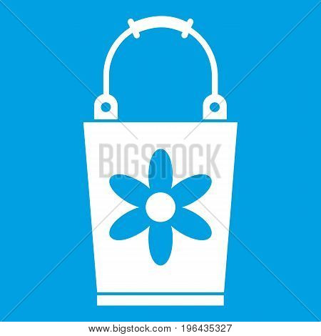 Bucket icon white isolated on blue background vector illustration