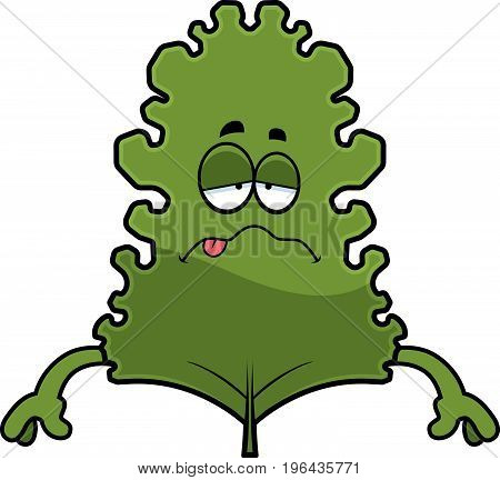 Sick Cartoon Kale Leaf