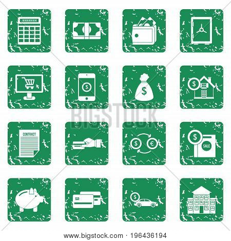 Credit icons set in grunge style green isolated vector illustration
