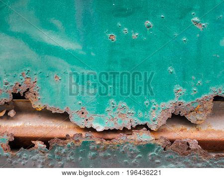Grunge old crack and rusty metal plate texture blackground, rusty car close up,