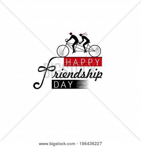 With the Day of Friendship greeting as friends on tandem, the concept of unity in difficulties and in fun. Designers idea for a postcard, banner, invitation