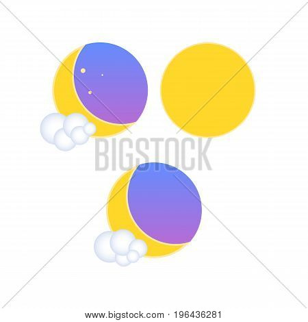 Set of weather climatic icons in 3d and flat styles. Night and daytime weather conditions. A cloud of 3d balls. Month and a starry sky. Icons for the web. Vector illustration