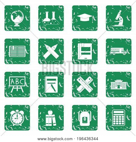 School icons set in grunge style green isolated vector illustration