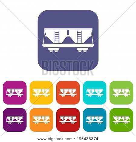 Freight railroad car icons set vector illustration in flat style in colors red, blue, green, and other