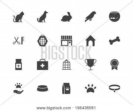 Pets, shop black silhouettes vector icons set