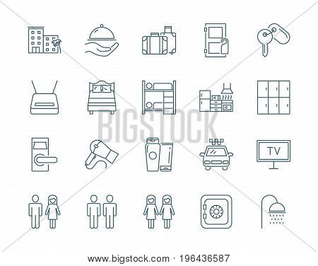Hostel and hotel set of vector icons, linear style