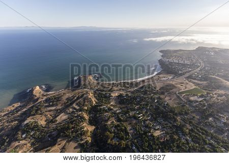 Aerial view towards Abalone Cove in Rancho Palos Verdes, California.