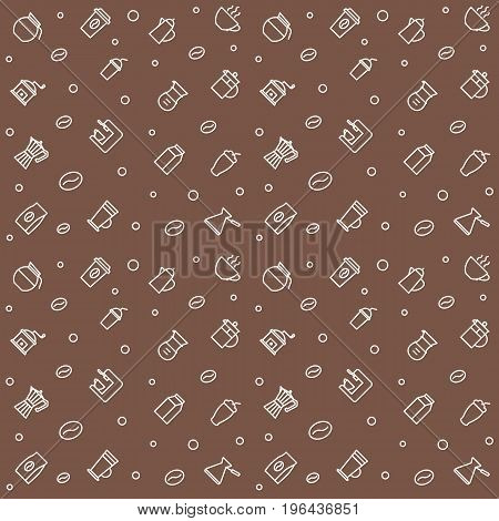 Coffee vector seamless pattern thin linear style
