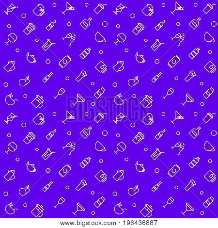 Drinks vector seamless pattern thin linear style