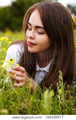 Beautiful Girl In A Meadow
