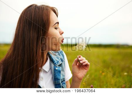 Beautiful Girl In A Meadow In The Morning. Dandelion