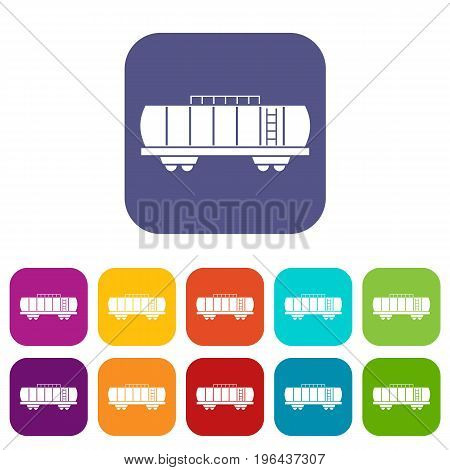 Oil railway tank icons set vector illustration in flat style in colors red, blue, green, and other