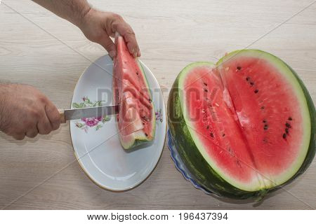 Summer and fresh watermelon topic: human hand with a knife beginning to cut a watermelon. watermelon and Male hands on table