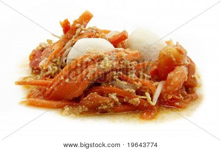 fried meat ball carrot tomato