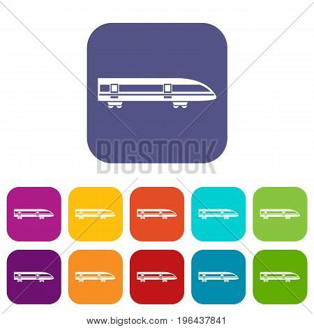 Modern high speed train icons set vector illustration in flat style in colors red, blue, green, and other