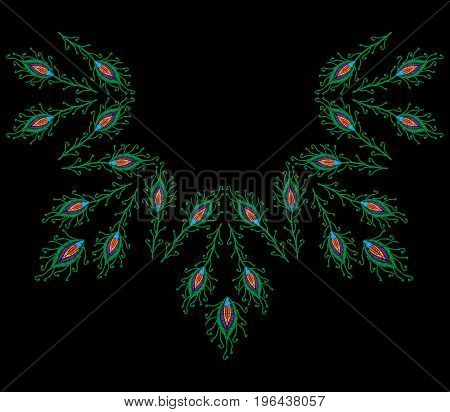 Neck line with peacock feathers embroidery stitches imitation. Template for fabric textile patch or print. Fashion peacock feathers embroidery. Vector embroidery feather on black background.