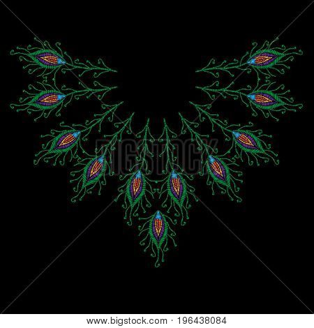 Peacock feathers embroidery stitches imitation for neck line. Template for fabric textile patch or print. Fashion peacock feathers embroidery. Vector embroidery feather on black background.