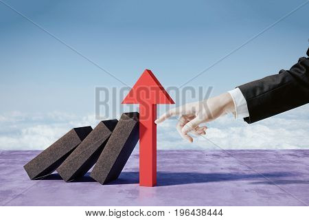 Hand pointing at arrow with bricks. Crisis concept. 3D Rendering