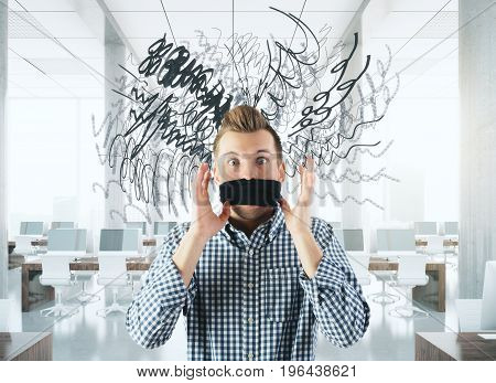 Man with tied mouth and scribble standing in coworking office. 3D Rendering