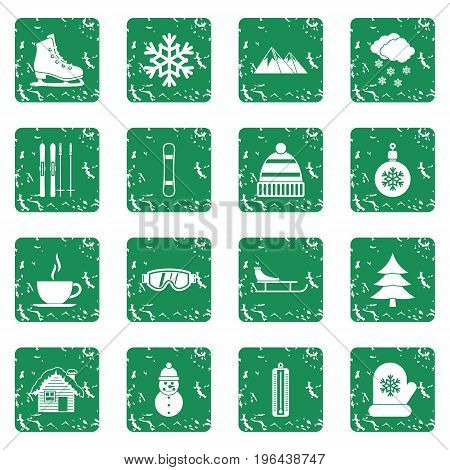Winter icons set in grunge style green isolated vector illustration
